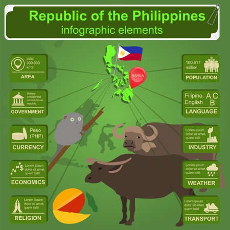 idler: Philippines  infographics, statistical data, sights. Vector illustration