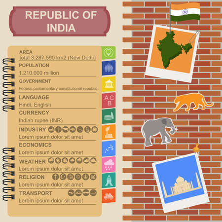 Republic of India  infographics Vector