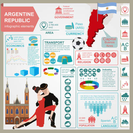 Argentina infographics, statistical data, sights illustration Çizim