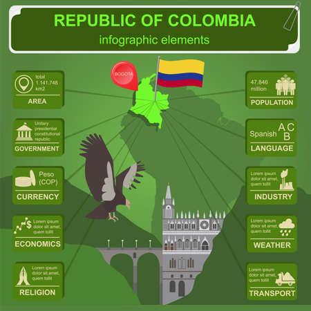 sights: Colombia infographics, statistical data, sights illustration Illustration