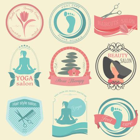 simbolo de la mujer: Conjunto de peinado vintage, el cuidado del cuerpo y los logotipos de la cosmetolog�a. Vector logo plantillas e insignias Vectores