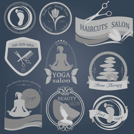 foot spa: Set of vintage hairstyle, body care and cosmetology logos. Vector logo templates and badges