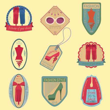 Set of vintage fashion and clothes style logos. Vector logo templates and badges Vector