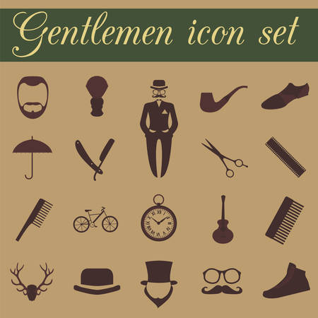 Set of vintage barber, hairstyle and gentlemen icon. Vector illustration Vector