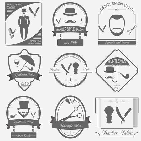 Set of vintage barber, hairstyle and gentlemen club logos. Vector templates and badges Vector