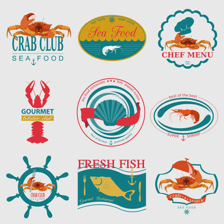 Set of vintage sea food logos. Vector logo templates and badges Vector