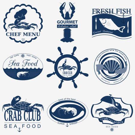 crabs: Set of vintage sea food logos. Vector logo templates and badges