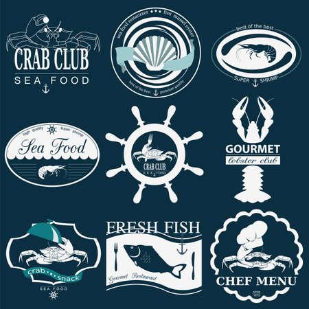 ヴィンテージ海食品ロゴのセットです。ベクトルのロゴのテンプレートとバッジ