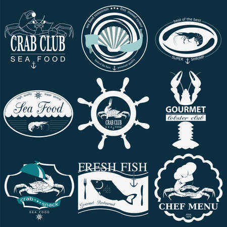 fish meal: Set of vintage sea food logos. Vector logo templates and badges