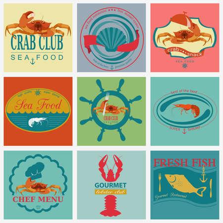Set of vintage sea food logos. Vector logo templates and badges Vector