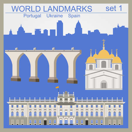 aqueduct: World landmarks icon set. Elements for creating infographics. Vector illustration