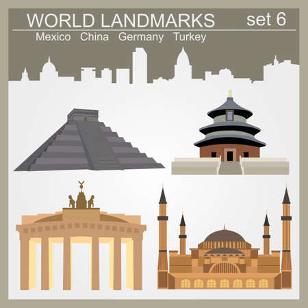 chichen: World landmarks icon set. Elements for creating infographics. Vector illustration
