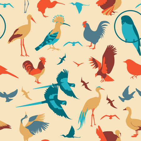 Birds seamless pattern. Vector flat style. Vector illustration  Vector