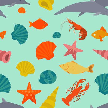 Sea animals seamless pattern. Vector
