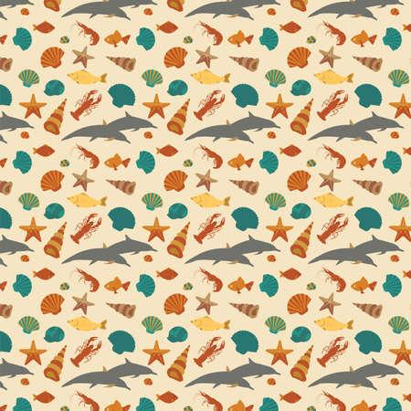 sea animals: Sea animals background pattern.
