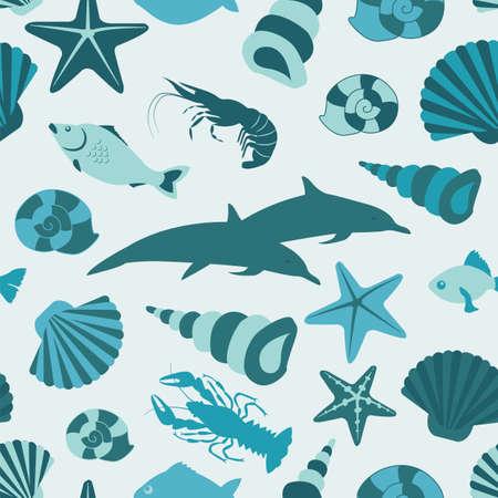 Sea animals seamless pattern. Vector flat style. Vector illustration Vector