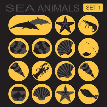 sea animals: Sea animals icon. Vector illustration Illustration