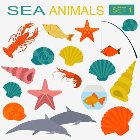 Sea animals icon.  Vector