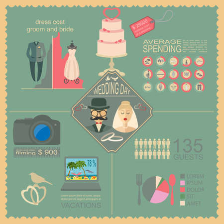 Set of vintage wedding, fashion style and travel infographic elements, templates. Vector illustration Vector