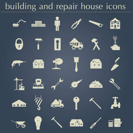Set of house repair tools icons. Vector illustration Vector