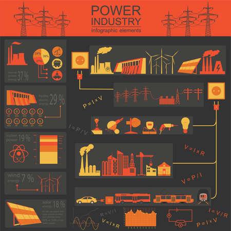 thermal power plant: Energ�a Potencia infograf�a industria, sistemas el�ctricos, establece elementos para crear sus propias infograf�as. Ilustraci�n vectorial