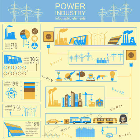 dam: Power energy industry infographic, electric systems, set elements for creating your own infographics. Vector illustration