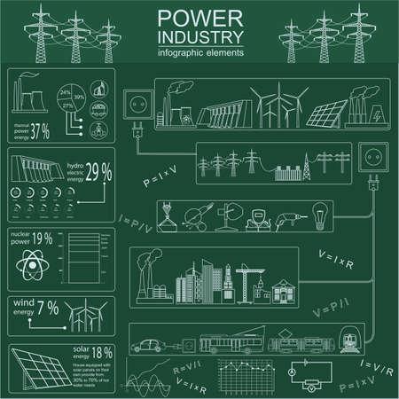 energia electrica: Energ�a Potencia infograf�a industria, sistemas el�ctricos, establece elementos para crear sus propias infograf�as. Ilustraci�n vectorial