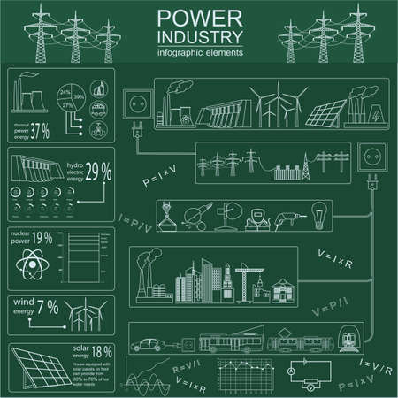 Power energy industry infographic, electric systems, set elements for creating your own infographics. Vector illustration