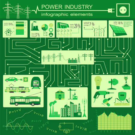 gaseous: Power energy industry infographic, electric systems, set elements for creating your own infographics. Vector illustration