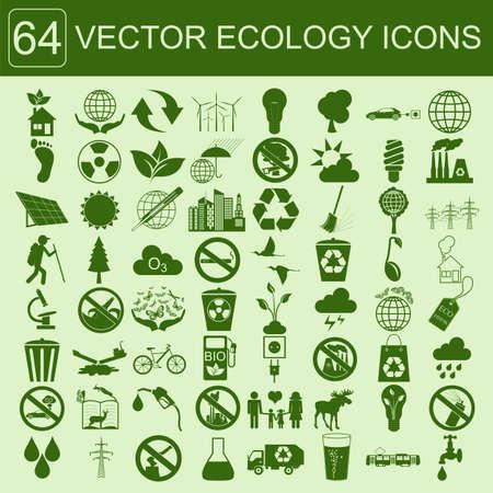 Environment, ecology icon set. Environmental risks, ecosystem. Vector illustration Vectores