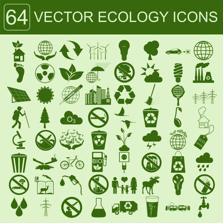 Milieu, ecologie icon set. Milieurisico's, ecosysteem. Vector illustratie