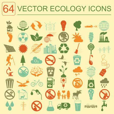 Environment, ecology icon set. Environmental risks, ecosystem. Vector illustration Vector