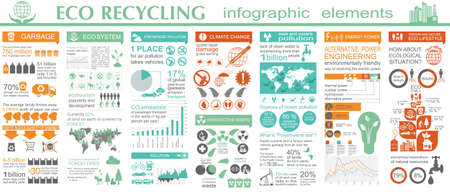 eco green: Environment, ecology infographic elements. Environmental risks, ecosystem. Template. Vector illustration