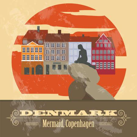 Denmark landmarks. Retro styled image. Vector illustration Stock Illustratie