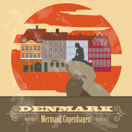 Denmark landmarks. Retro styled image. Vector illustration Vectores
