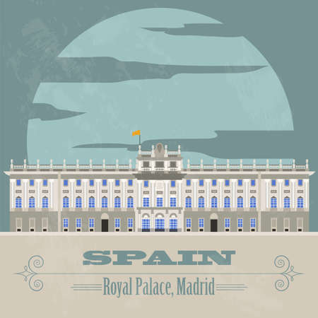 Spain landmarks. Retro styled image. Vector illustration Vector