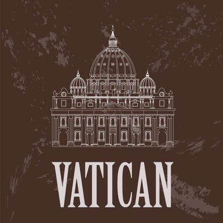 Vatican landmarks. Retro styled image. Vector illustration  イラスト・ベクター素材