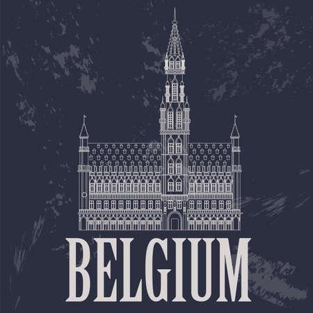 Belgium landmarks. Retro styled image. Vector illustration Vector