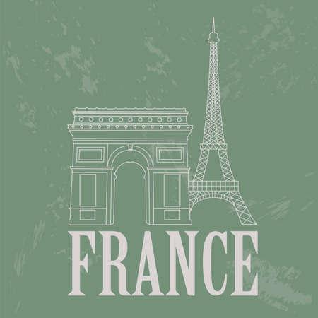 triumphal: France landmarks. Retro styled image. Vector illustration