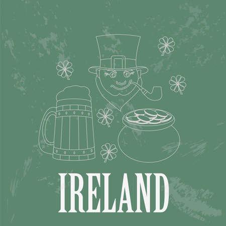 dublin: Ireland landmarks. Retro styled image. Vector illustration