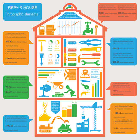 house painter: House repair infographic, set elements. Vector illustration