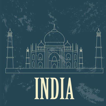 India landmarks. Retro styled image. Vector illustration