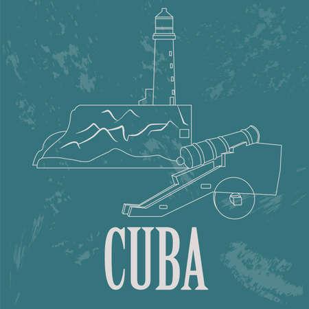 cuban cigar: Cuba landmarks. Retro styled image. Vector illustration Illustration