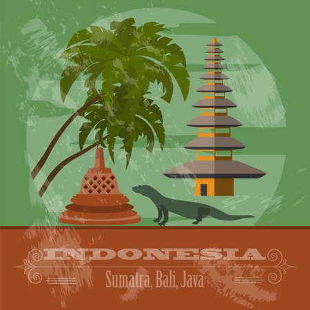 Indonesia landmarks. Retro styled image. Vector illustration Vector