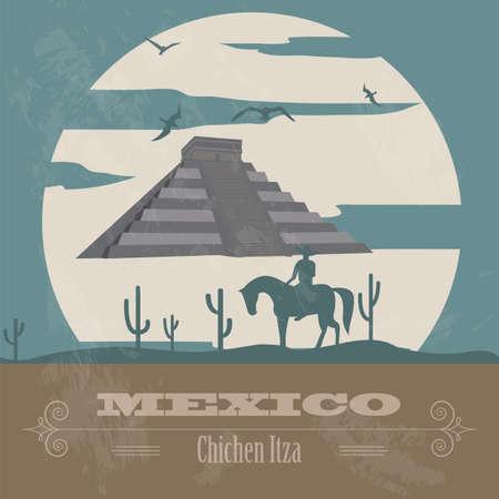 chichen itza: Mexico landmarks. Retro styled image. Vector illustration