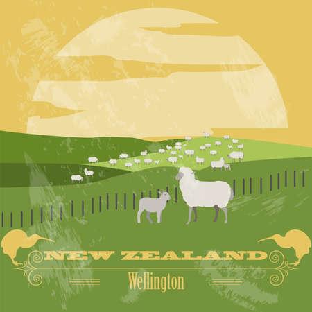 New Zealand landmarks. Retro styled image. Vector illustration Illustration