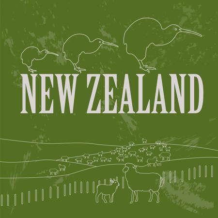new zealand landscape: New Zealand landmarks. Retro styled image. Vector illustration Illustration