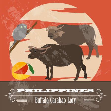Philippines landmarks. Retro styled image. Vector illustration