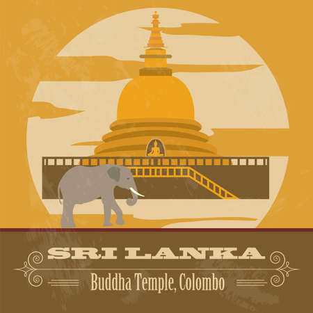 colombo: Sri Lanka landmarks. Retro styled image. Vector illustration Illustration