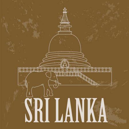 sri: Sri Lanka landmarks. Retro styled image. Vector illustration Illustration